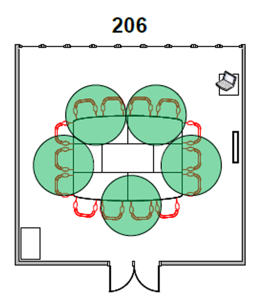 Diagram of Room 206 seating