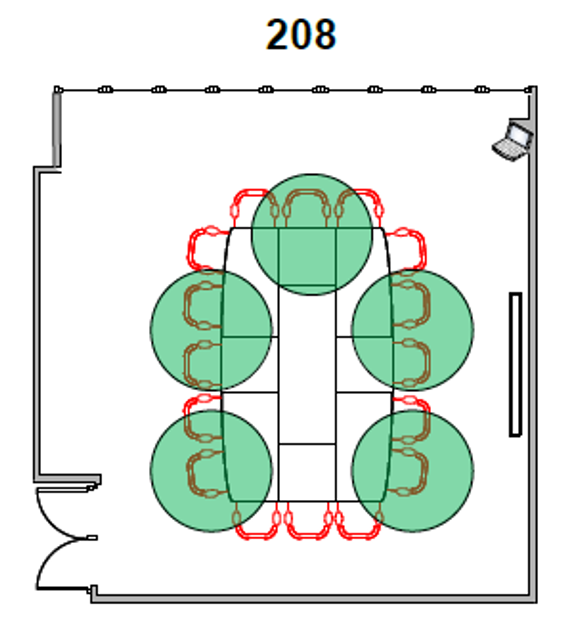 Diagram of Room 208 seating