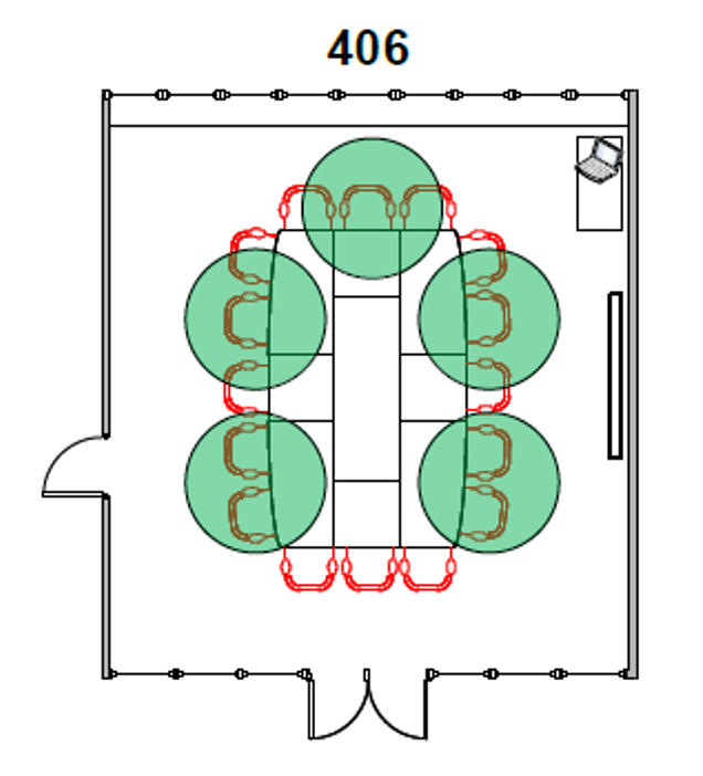 Diagram of Room 406 seating